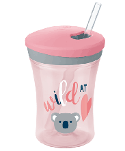 NUK Action Cup 230ml with Drinking Straw - Rose