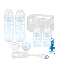 NUK First Choice + Temperature Control Rose and Blue Crate Starter Pack